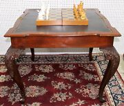 Antique Louis Xv Carved Mahogany Leather Console Game Table Circa 1890 Flip Top