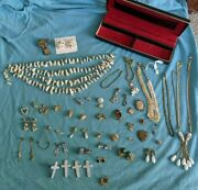 Huge Vintage Costume Jewelry Lot Box Included Religious Pins Necklaces Earrings