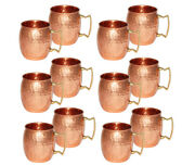 12 Moscow Mule Copper Mugs Brass Handle Hammered Handmade Cup For Beer Drinks