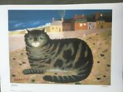 Cat On A Cornish Beach Mary Fedden Ra /550 Signed Limited Edition Pristine
