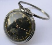 Rare+++ Military Stainless Steel Omega Open Face Pocketandtraval Watch Swiss 1939