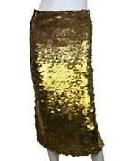 New/tag 2550 Sally Lapointe Gold Sequin Pencil Skirt. Size 4. Party / Cocktail