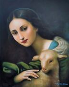 Masterpiece Girl And Lamb Sheep Hand Painted Portrait Oil On Canvas
