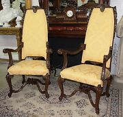 Magnificent Antique French Pair Carved Walnut High Back Arm Chairs Circa 1890