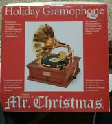 Mr Christmas Holiday Gramophone W/3 Records Music Box Classic Songs Phonograph
