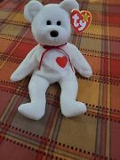 Ty Beanie Baby 1994 Valentino White Bear Adult Nose Brown Vintage Mint