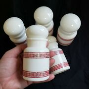 Milk Glass Spice Jars Apothecary Lidded Containers Belgium Vintage Stripes