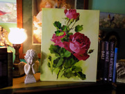 Vintage/victorian Inspired Red Cabbage/cottage Roses Oil Art Shabby