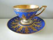 Dresden Cup Saucer Footed Royal Blue Gold Raised Acantus Leaves Hutschenreuther
