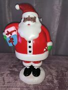 Rare Sold Out African American Black Santa Claus Christmas Light Up Blow Mold