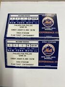 2003 New York Mets Vs Philadelphia Phillies Tickets August 31st Seats 17and18