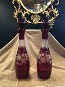Antique Pair Of Bohemian Cut And Etched Cranberry Glass Liquor Decanters