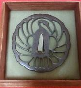 Very Rare Antique Item Japanese Samurai Sword Tsuba Swan Shipping From Japan