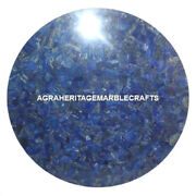 Marble Round Dining Room Table Lapis Lazuli Marquetry Inlay Halloween Gift H1680