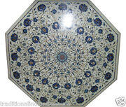 30 White Marble Coffee Table Top Lapis Lazuli Inlay Marquetry Collectible Decor