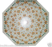 30 White Marble Center Coffee Table Top Hakik Inlay Art Marquetry Outdoor Dandeacutecor