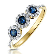 Christmas 1.00ct Natural Round Diamond Blue Sapphire 14k Solid Yellow Gold Ring