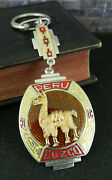 Signed Pmd Cuzco Peru 925 Sterling And 18k Gold Red And Yellow Enamel Llama Keychain
