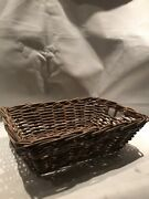 Wicker Basket Storage With Handle Perfect Condition Solid Heavy Rectangular