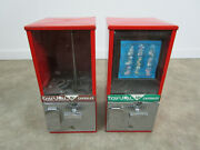 2 Vintage Toy And039n Joy Five Ten Cent Capsule Vending Candy Machine Pair