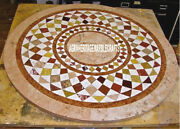 Antique Marble Top Console Table Mosaic Inlay Marquetry Arts Hallway Decor H3808