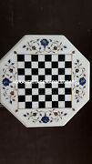 Marble Chess End Table Top Marquetry Lapis Floral Inlay Furniture Decor H4097