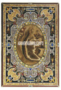Scagliola Marble Top Dining Home Table Antique Inlaid Occasional Decor Art H3848