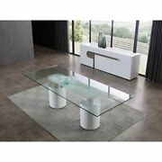 Mandarin Dining Table 12mm Clear Tempered Glass Top Polished Stainless Stee...