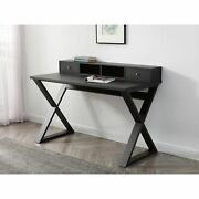 Michael Desk, Dark Wengee, 2 Drawers And 2 Open Shelves With Black Metal Legs