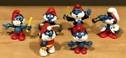 Rare Vintage Lot Of 6 Papa Smurf Figurines 1970s 1980s Schleich Peyo Collectible