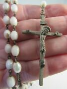Vintage Antique Rosary Catholic White Crucifix Inri Italy Mother Of Pearl Estate