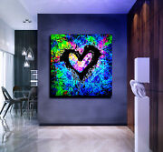 Original Abstract Painting Canvas Wall Art Uv Colourful Heart- Commission