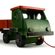 Romania Vintage Wood Toy Truck Green Red Blocks Flatbed Tractor Trailer Wooden