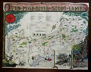 Ten Mile River Camps Boy Scouts Of America Wwii Era 1940's Pictorial Cartoon Map