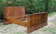Art Deco Superking Size Double Bed Frame. Vintage Sleigh Bed. Antique Bed.