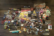 Junk Drawer Lot Jewelry Pins Toys Advertising Medals Fraternal Celebrity Cars