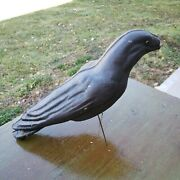 Vintage Crow Decoy Animal Trap Hunting Paper Mache Glass Eyes, Wire Legs 15