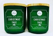 2 Dw Home Christmas Tree Wooden Wick Medium Candle Burns Up To 40 Hrs 11.5oz