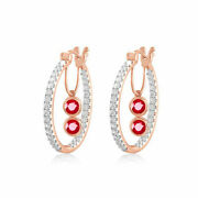 Christmas 1.20ct Natural Round Diamond Ruby 14k Rose Gold Hoops Earring