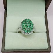 925 Sterling Silver Vintage Diamond And Emerald Rings Pretty Christmas Gifts