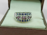 Antique 925 Sterling Silver Unique Sapphire And Ruby Band Rings Christmas Gift
