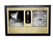Ww2 U.s. Lockheed P-38 Aircraft 20 Mm Cannon Bullet In Display Case With Coa