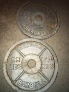 🔥pair Of Used Vintage Rusty 35 Lb Iron Olympic Weight Plates 70 Pounds Total