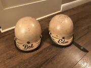 2 Rare Early Marked Harley Davidson Motorcycle Half Helmet Visor Buco His And Hers