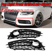 2x Front Bumper Fog Light Grille Grill Honeycomb Glossy Black For Audi A4 S4 B8