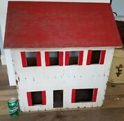 Antique Vtg Doll Wood House Wooden Dollhouse Large 16 Scale Hand Made Primitive