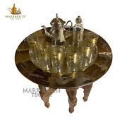 Moroccan24 Brass Folding Table With Complete Tea Silverware And 6 Cups Serving