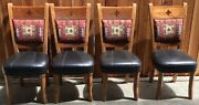 4 Dining Chair Leather Upholstered Turquoise Inlay Wooden Local Pickup Only