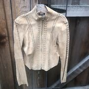 Bebe Tan Suede Jacket With Cutouts. Size L