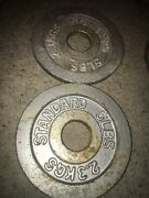 🔥pair Of Used Vintage Rusty 5 Lb Iron Olympic Weight Plates 10 Pounds Total